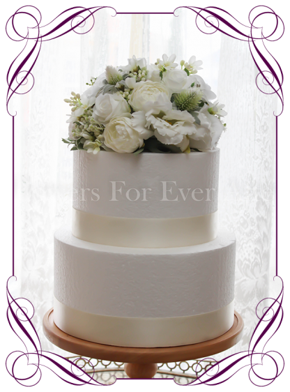 Silk artificial 8 inch white wedding flowers cake topper half dome. Easy decoration. Buy online