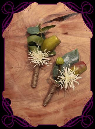 Silk artificial gumnut native mens grooms buttonhole boutonniere. Buy online