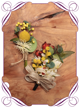 Native australia button and corsage set for parents, wedding, formal, prom. Buy online