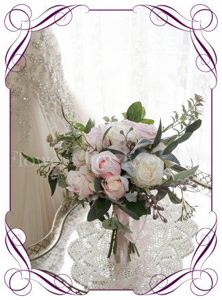 silk artificial pink and white with gum foliage bridesmaids bouquet. Made in Australia by Australia's best bridal florist. Buy online. Package available