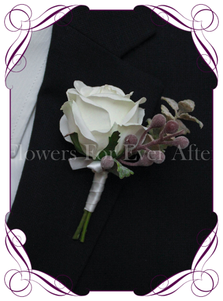 Silk artificial Ivory white rose groom / groomsmans / gents wedding button boutonniere for wedding formal prom. Buy online.