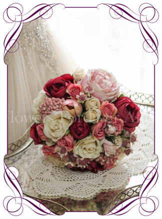 Silk artificial burgundy, blush pink, cream wedding Bridal posy bouquet. Roses, Peonies, tulips and berries. Buy online. Shipping worldwide.