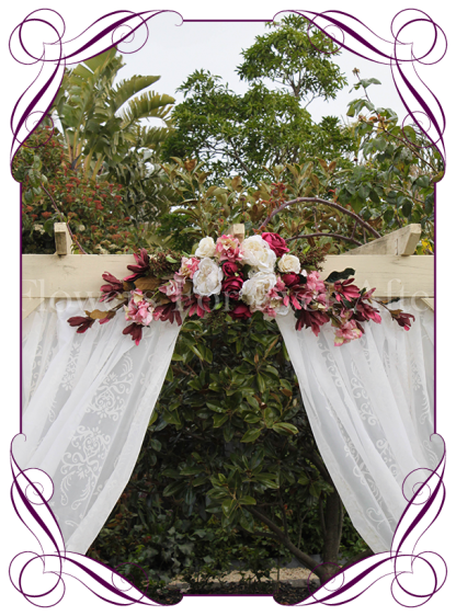 Silk artificial burgundy, blush pink, cream, lace, wedding arbor arch table decoration garland. Lace peonies, roses, magnolia. Buy online. Shipping worldwide.
