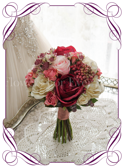 Silk artificial burgundy, blush pink, cream wedding Bridesmaid posy bouquet. Roses, Peonies, and berries. Buy online. Shipping worldwide.