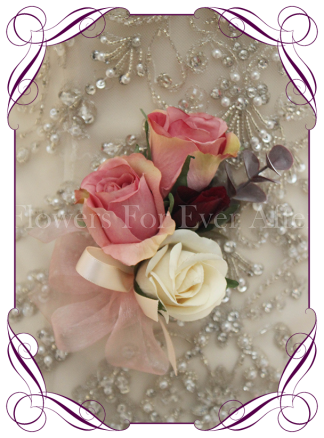 Silk artificial rose pink and cream ladies corsage. Wedding formal prom corsage. Buy online. Shipping worldwide.