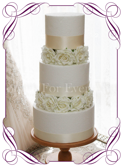 Silk artificial white rose cake flowers ring layers. Buy online. Shipping world wide.
