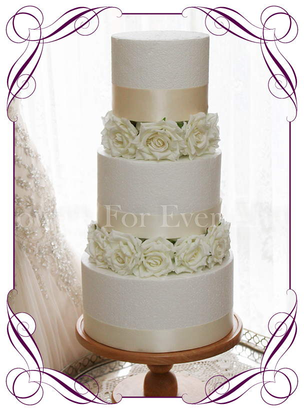 Silk Artificial White Rose Cake Flowers Ring Layers Buy Online Shipping World Wide