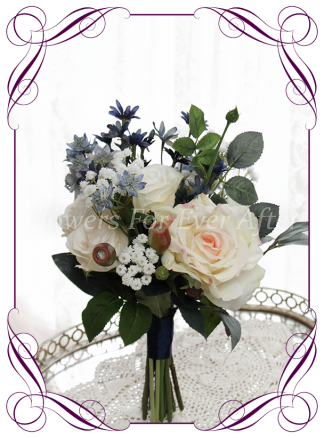 Silk artificial bridesmaids bouquet posy with navy, dusty blue, blush champage and white flowers. For wedding bridal flower package. Made in Melbourne Australia. Shipping world wide.