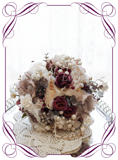 Silk artificial jewel and pearl antique vintage style bridal wedding bouquet. Fabric flowers, bling, peonies and roses. Shipping world wide. Made in Melbourne Australia