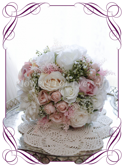 A Gorgeous Silk Artificial Bridal Bouquet posy, featuring faux flower dahlia, babies breath, roses and textures in a classic bridal style, pink wedding flowers, traditional wedding bouquets. Made in Melbourne by Australia's Best Artificial Bridal Florist. Worldwide Shipping available