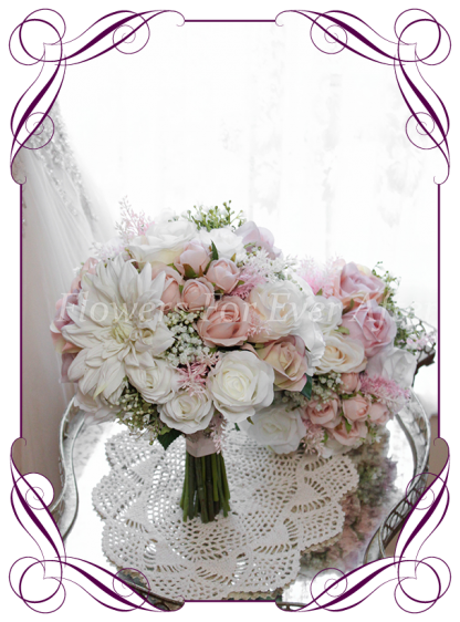A Gorgeous Silk Artificial Bridal Flower Package, Brides Bouquet, Bridesmids Posy, Boutonierre, Corsages, featuring faux flower dahlia, babies breath, roses and textures in a classic bridal style, pink wedding flowers, traditional wedding bouquets. Made in Melbourne by Australia's Best Artificial Bridal Florist. Worldwide Shipping available