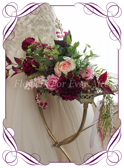 Silk Artificial Bridal Bouquet in boho rustic style featuring faux dahlia, peonies, foliage, roses berries. Made in Melbourne, Shipping worldwide