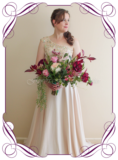 silk artificial brides bouquet rustic bohemian style bridal posy bouquet. Peonies, ferns, raspberry, plum colours. Made in Melbourne. Shipping worldwide.
