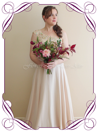 silk artificial rustic boho bridesmaids posy bouquet. Peonies, ferns, raspberry, plum colours. Made in Melbourne. Shipping worldwide.