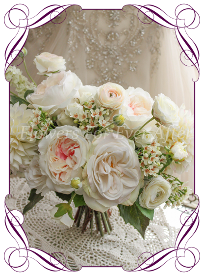 A romantic real looking Silk Artificial Bridal Bouquet posy, featuring faux flower white ivory dahlia, soft pastel champagne roses, peonies, and textures in a unique bridal style, champagne pastel blush wedding flowers, traditional wedding bouquets. Made in Melbourne by Australia's Best Artificial Bridal Florist. Worldwide Shipping available. Buy online