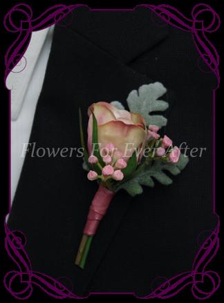 Faux Silk Bridal Flower Groomsmens Boutonierre, Silk wedding florist Melbourne. Worldwide Shipping