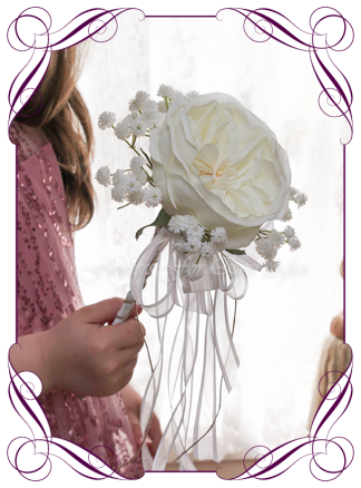 A romantic silk Artificial flower girl wand featuring faux flower ivory white David Austin rose with baby's breath. Made in Melbourne by Australia's Best Artificial Bridal Florist. Worldwide Shipping available. Buy online
