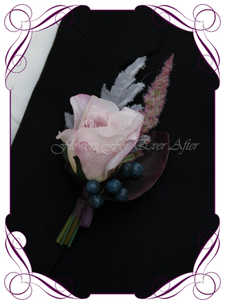 Silk artificial unusual gents button / boutonniere for wedding, formal, prom. Dark moody style. Purple, smokey, mauve, navy, berries. Made in Australia, post worldwide