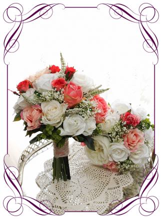 Silk artificial wedding bouquet ideas. Mixed ivory white and coral orange faux silk bridal bouquet wedding flowers package set. Roses, peonies, baby's breath. Elegant romantic wedding posy bouquet. Made in Melbourne. Buy online. Shipping worldwide.