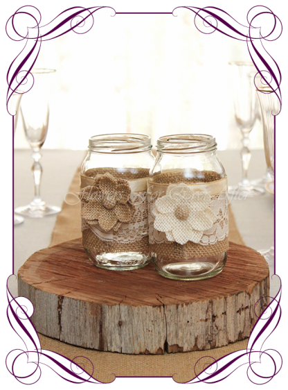Table centrepiece decorations for a wedding, engagement, birthday party, communion, confirmation, baby shower, ideas. Rustic decorated mason jars with burlap and lace. Elegant table jars. Buy online. Made in Australia. Shipping world wide.