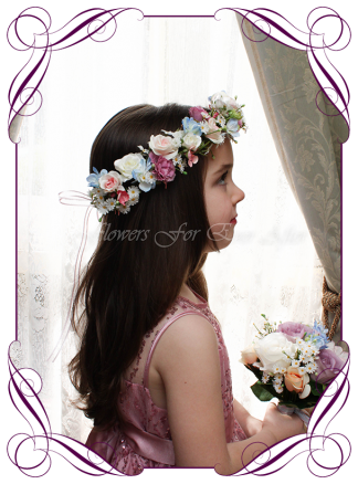 Silk Artificial floral hair crown / halo featuring faux flower blue hydrangea and roses in a classical style and pastel tones. Made in Melbourne by Australia's best Silk Florist, worldwide shipping available