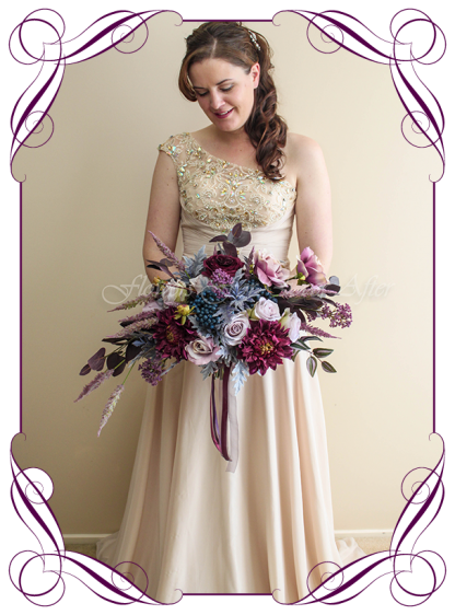 Unusual moody wedding flower design idea, silk artificial bridal posy spray bouquet. Wedding flowers, bridal party flowers. Dark plum, mauve, purple, navy berries, smokey leaves, dusty pink, dahlia, roses. Made in Melbourne. Buy online. Shipping worldwide.