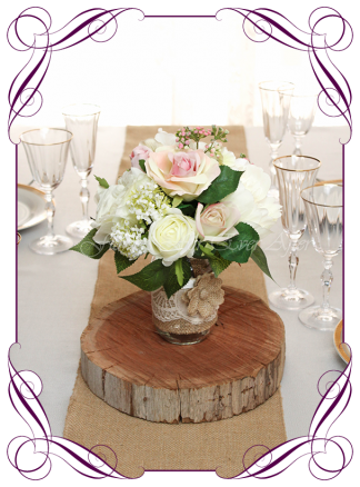 Silk faux flowers table centrepiece decorations for a wedding, engagement, birthday party, communion, confirmation, baby shower, baby girl shower, ideas. With white and pink roses, peonies, hydrangea for mason jar. Buy online. Made in Australia. Shipping world wide.