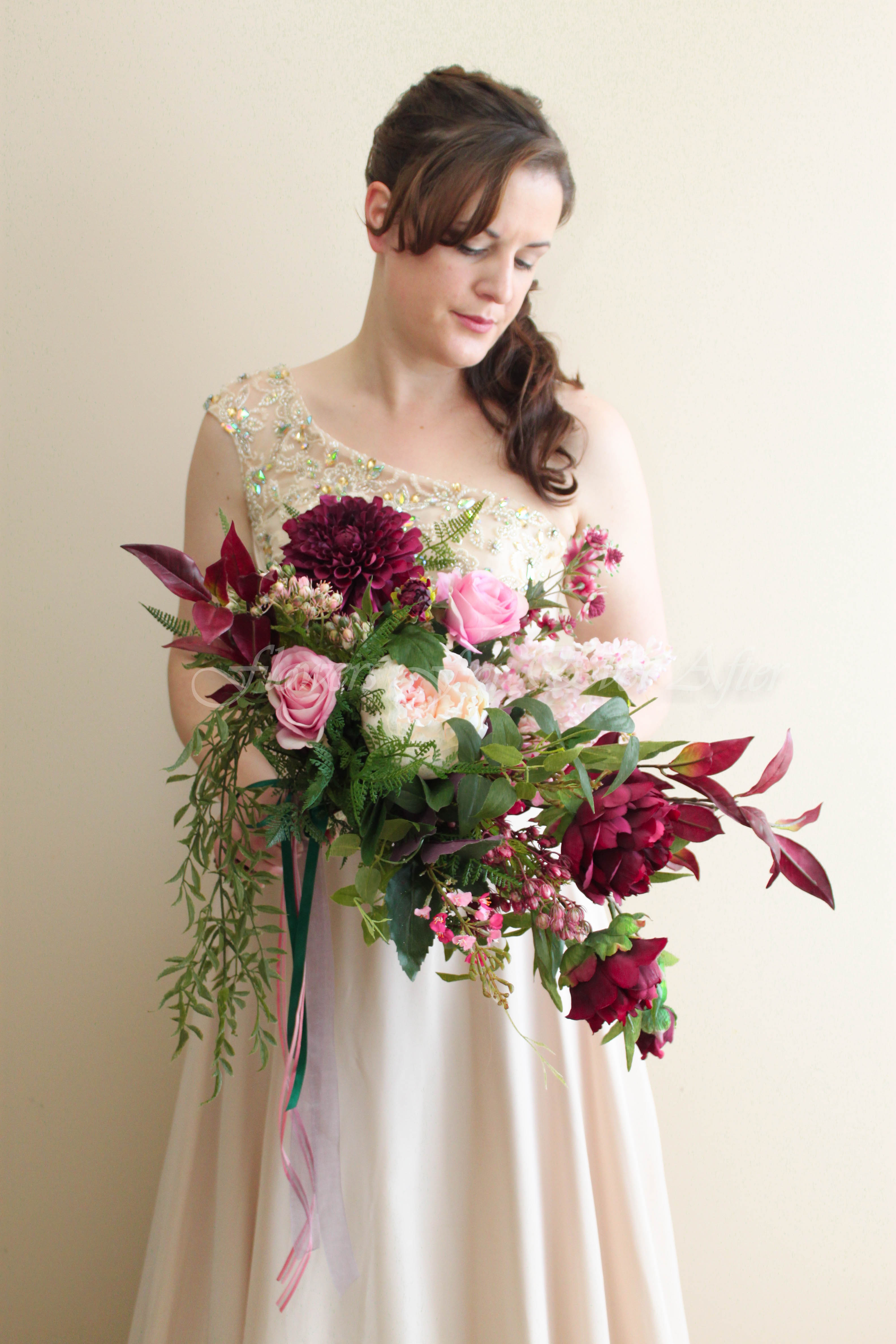 Artificial Silk Bridal Bouquet in large garden picked style. Featuring faux flower peonies, foliage, dahlias, roses and more. Designed exclusively in Melbourne by Australia's best Artificial Wedding Flower Designers Flowers For Ever After. Custom Orders Welcome, Worldwide Shipping Available.