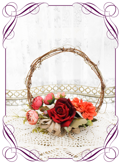 Silk artificial rustic Autumn Fall flower girl wedding wreath hoop. Burnt orange, burgundy, orange, coral, brown, black flowers and fall mapel leaves. Made in Australia. Shipped world wide