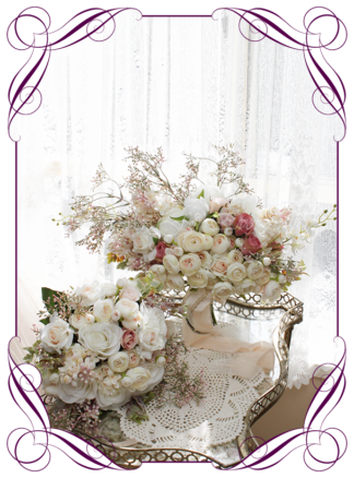 A Gorgeous Silk Artificial florals Bridal Bouquet package set featuring faux flower peonies, roses, ranunculi, babies breath, and textures in a romantic elegant and unusual bridal style, blush pink wedding flowers, traditional wedding bouquets. Made in Melbourne by Australia's Best Artificial Bridal Florist. Worldwide Shipping available