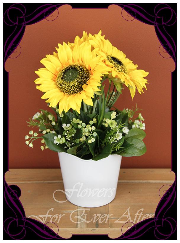 Sunflower Pot Set Silk Floral Gift Arrangement Artificial Bridal Bouquets Silk Wedding Flower Packages Flowers For Ever After