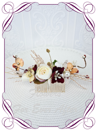 Silk artificial rustic burgundy, burnt orange, ivory fine flowers, floral hair comb. Ideal for wedding, engagements, special events hair decoration. Made in Melbourne Australia. Buy online. Ships worldwide.