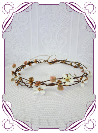 Silk artificial rustic brown vine and ivory scattered fine flowers, floral hair crown halo. Ideal for wedding, Communion, Confirmation hair decoration. Made in Melbourne Australia. Buy online. Ships worldwide.
