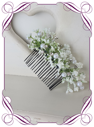 Silk artificial baby's breath and pearl gyp bridal hair comb. Wedding hair florals. simple white wedding hair flowers. Made in Australia. By online. Shipping world wide
