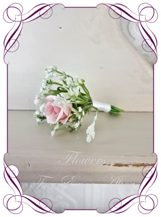 silk artificial gents mens button grooms groomsmans boutonniere for wedding and formal / prom. Blush pink rose and baby's breath. . Made in Melbourne Australia. Buy online, shipping world wide.